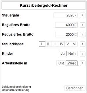 Kurzarbeit-Rechner-süddeutsche Zeitung (Beispielwerte)