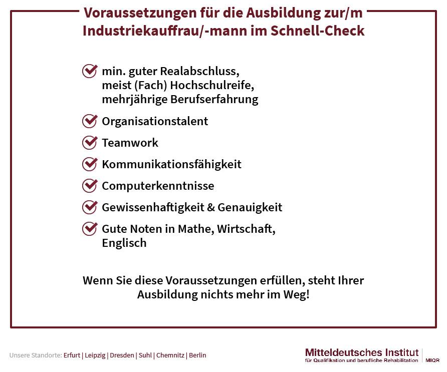 Voraussetzungen für die Ausbildung Industriekaufmann /-frau