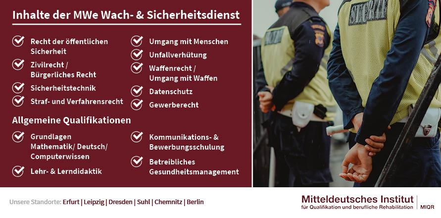 Inhalte der MWe Wach & Sicherheitsdienst